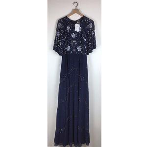 ASOS Tall Embellished Floral Flutter Sleeve Gown